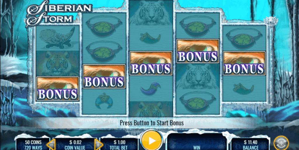 Siberian Storm Mega Jackpots bonus