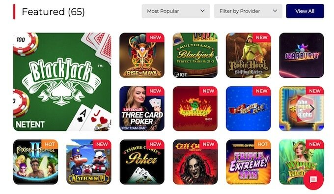 BetAmerica Online Casino games